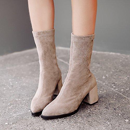 Des Chaussures Chaussettes Talon Apricot Bottes Bottes Mes De L'Automne KHSKX Cuir Correspond Étirement En L'Hiver Bottes Bottes Avec Bottes Et À À Épaisses OqUZ4xIpw