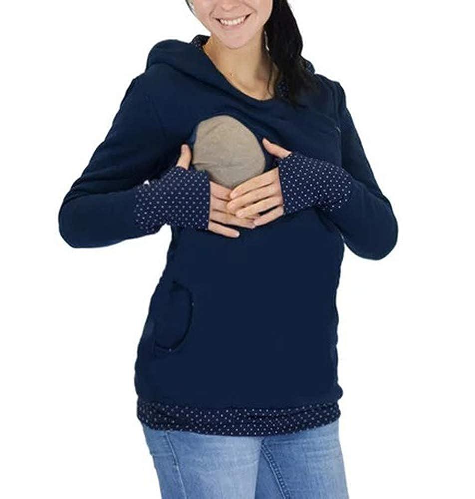 Womens Maternity Hoodie Sweatshirt Zip Side Langen Ärmeln