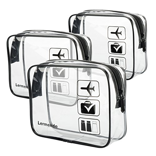 3pcs Lermende TSA Approved Toiletry Bag with Zipper Travel L