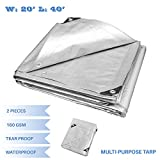 E&K Sunrise 20' x 40' Finished Size General Multi-Purpose Tarpaulin 10-mil Poly Tarp - Silver - Set of 2