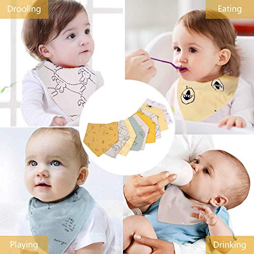 Viedouce Baby Bandana Drool Bibs 100% Organic Cotton Baby Burp Cloths with Adjustable Snaps, Neutral Set of 9