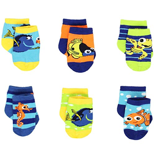 Finding Nemo Dory Baby Boys 6 pack Socks (0-6 Months, Nemo Multi)