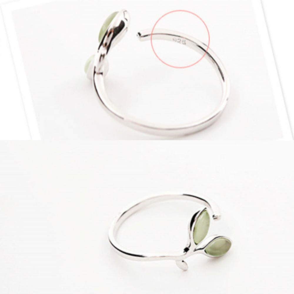 QVXEF 100/% 925 Sterling Silver Green Opal Leaves Buds Open Rings for Women Creative Fashion Jewelry