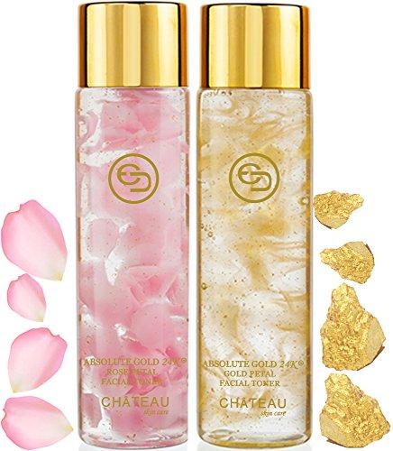 Absolute Gold 24K ROSE PETAL FACIAL TONER - GOLD PETAL FACIAL TONER ( pack 2). 24 KARAT GOLD / COLLAGEN. For all skin types.