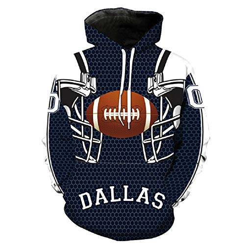 Dallas Costume Men Women Dallas Cowboy Sweatshirts Cosplay Hooded Sweaters (XL) Blue -