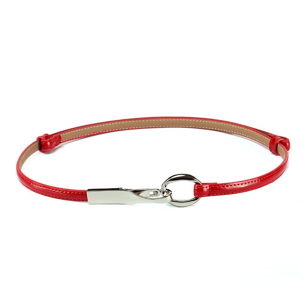 Belts for Women Thin Skinny Adjustable Solid Patent Leather Waist Belt belt1101-7