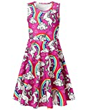 Uideazone Little Girls Unicorn Rainbow Sleeveless Dress for Summer Birthday Casual