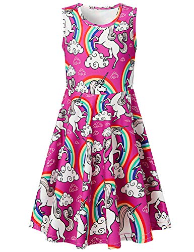 Uideazone Girls Unicorn Dresses Summer Unicorn Rainbow g Sleeveless Casual Clothes for Little Kids ()