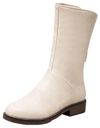 Women's Casual Round Toe Splicing Block Low Heel Back Zipper Mid Calf Riding Boots