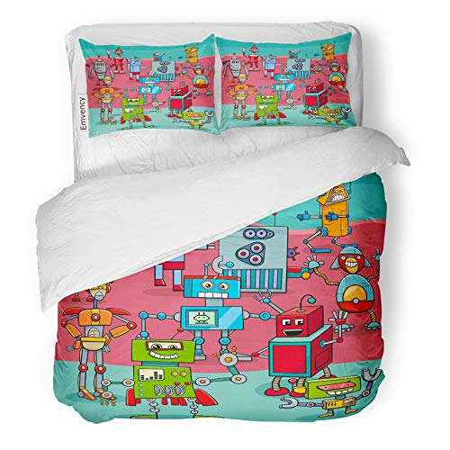 Emvency Decor Duvet Cover Set King Size Artificial Cartoon of Funny Robots Science Fiction Characters Big Group Intelligence 3 Piece Brushed Microfiber Fabric Print Bedding Set Cover