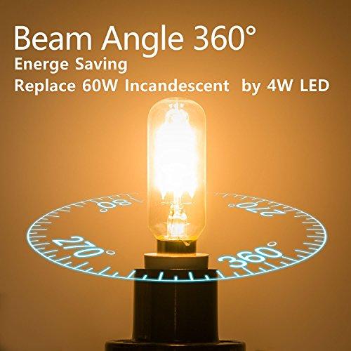 KunstDesign LED Candelabra Bulb 4W 6Pack LED Bulbs Dimmable 3000K Warm White Bulb with 400 Lumen, E12 LED Bulb Candelabra Base 40 Watt Equivalent T25 Tubular Bulbs Shape by KunstDesign (Image #4)