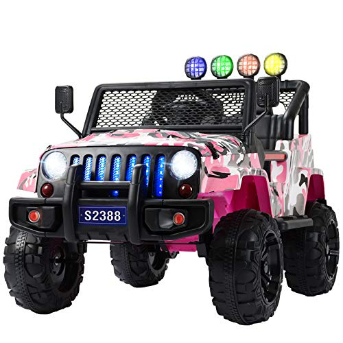 Uenjoy Kids Ride on Cars with Remote Control New Camouflage Color W/ Spring Suspension, Music& Story Playing, Colorful Lights, Sunshine Model, Camo Pink