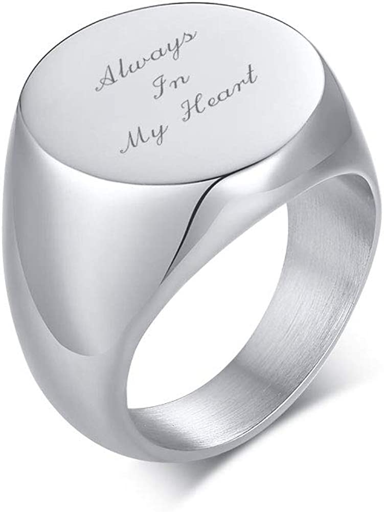 VNOX Stainless Steel Cremation Jewelry for Ashes Holder Cremation Urn Finger Signet Ring Ashes Ring Memorial Jewelry