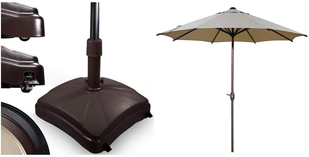 Shademobile Outdoor Umbrella Stand w/Easy Rolling Base (up to 125lb) & Abba Patio 9 ft Patio Umbrella Outdoor Market Table Umbrella with Push Button Tilt and Crank, 8 Sturdy Steel Ribs, Beige