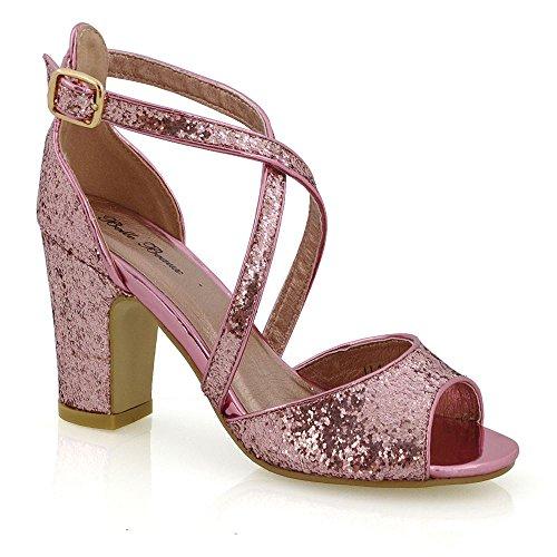 ESSEX GLAM Mujer Strappy Talón de Bloque Resplandecer Nupcial Zapato Rosa Resplandecer