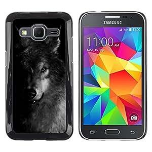 Paccase / SLIM PC / Aliminium Casa Carcasa Funda Case Cover - Dog Black White Winter Feral Animal - Samsung Galaxy Core Prime SM-G360