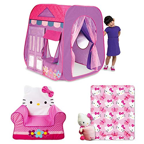 Playhut Beauty Boutique, Hello Kitty Children's Foam Comfy Chair, Hello Kitty Butterfly Hugger Character Shaped Pillow and 40 x 50 Fleece Throw Set, Tent for Girls, Hello Kitty, Plush Pillow