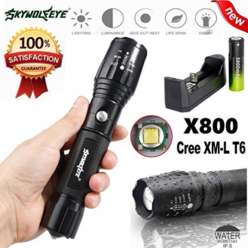 Tactical Flashlight, Franterd 5000Lm C8 CREE XM-L T6 LED 18650 5 Mode Torch Light Lamp (5800 Series Single)