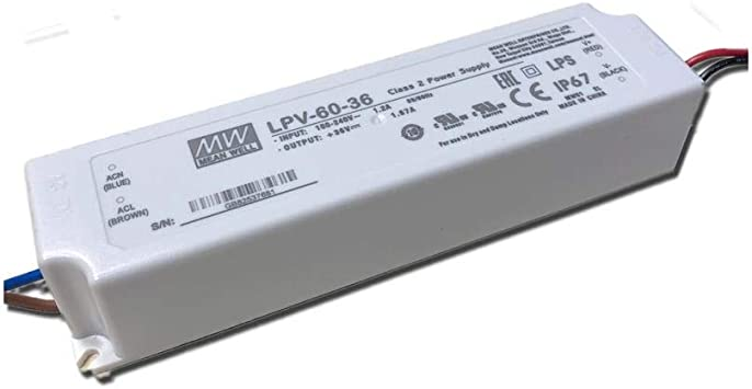 LED-Schaltnetzteil 36V 1,67A 60W IP67 Class2 LPV-60-36 von Meanwell