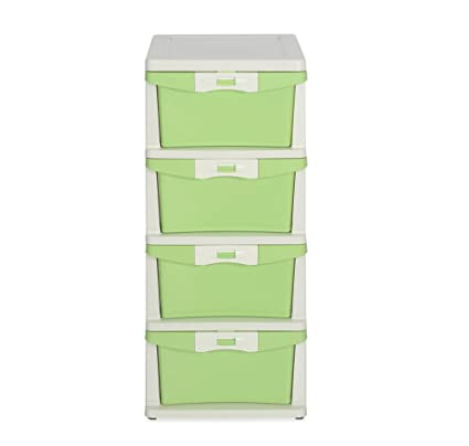 Nilkamal Chester Storage Unit With 4 Drawers (Cream And Pastel Green)