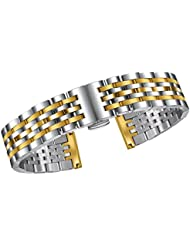 Adjustable Metal Watch Band 20mm Quality Stainless Steel Solid Links in Two Tone Silver and Gold Curved or Straight...