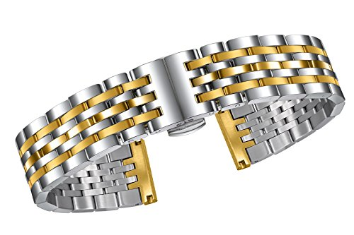 Adjustable Metal Watch Band 20mm Quality Stainless Steel Solid Links in Two Tone Silver and Gold Curved or Straight ()