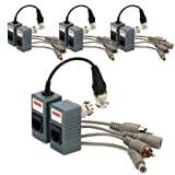 Generic BNC to RJ45 CAT5 Video + Audio + Power Balun Transceiver for CCTV Camera (pack of 4)
