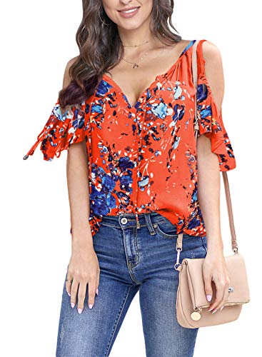 Asvivid Womens Casual Floral Printed Frill Short Sleeve Tops Summer V-Neck Open Shoulder Cotton Shirt Blouses M - Top Cotton Frill