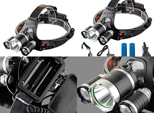 (1 Set 9000 Lumen Cree XM-L T6 R5 LED Headlamp 4 Modes Torch 30W Flashlight Headlight Overwhelming Fashionable Ultra Xtreme Tactical Bright Outdoor Hunting Light w/ 2x 18650 Battery Car Charger)