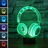 VelvxKl 3D Visual Headset Design Table LED lamp Room 7 Color Changing Touch Night Light