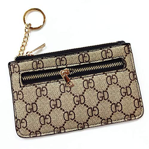 Coiol Luxury Zip Checkered Key Chain pouch   PU Vegan Leather Mini Coin Purse Wallet with clasp (Beige) ()