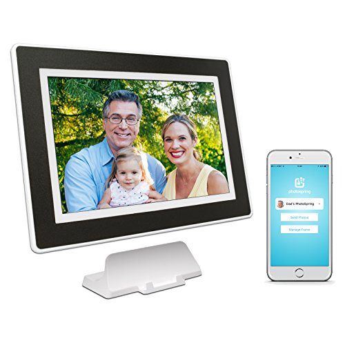 PhotoSpring (16GB) 10 inch WiFi Cloud Digital Picture Frame – Battery, Touch Screen, Plays Video and Photo Slideshows, HD IPS Display, iPhone & Android app (White/Black Mat – 15,000 Photos)