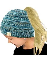 CC Kids Ponytail Messy Bun BeanieTail Soft Winter Knit...