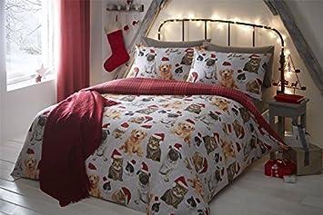 Navidad GATOS Y PERROS CONEJOS Tartán Gris Rojo Mezcla Algodón Doble (liso gris plateado Sábana bajera - 137 x 191cm + 25) 4 piezas Juego de cama: ...