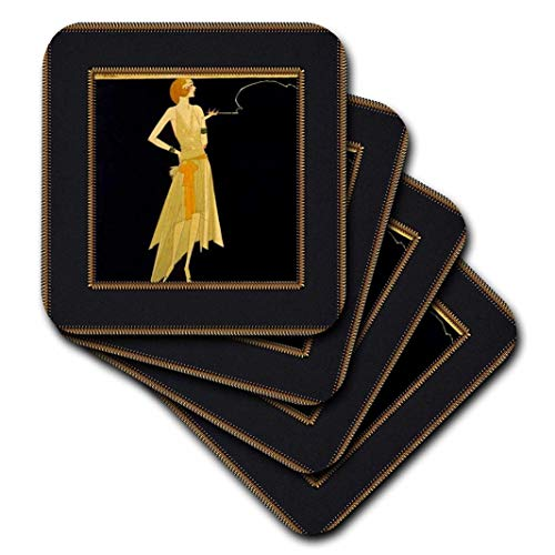 3dRose Art Deco Lady On Black With Gold Frame - Ceramic Tile Coasters, set of 4 (cst_39590_3)