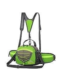 Elisona-Reflective Cursor Belt Waist Pack Fanny Pack Bum Bag Hip Pack Biking Sling Handbag with 2Pcs Water Bottle Pouch for iPhone iPad Mini Green