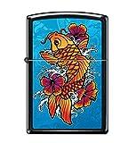 Zippo Lighter - Koi Fish and Hibiscus Black Matte