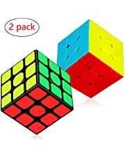 Aiduy 3x3x3 Speed Cube Set, Fast Smooth Turning Magic Cube Bundle Sticker en Stickless Speed Cube Smooth Twist Cube 3D puzzelspel, 2-pack