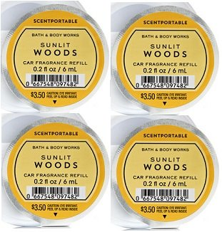Bath and Body Works 4 Pack Sunlit Woods Scentportable Fragrance Refill. 0.2 Oz.