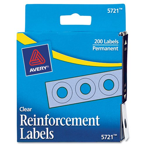 f-Adhesive Reinforcement Labels, Clear, Pack of 200 (5721) ()