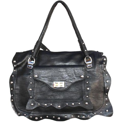 Frill Black Silver Silver Medium Satchel Wave With Studded Turnlock Fever® Front vqq1nYSw6