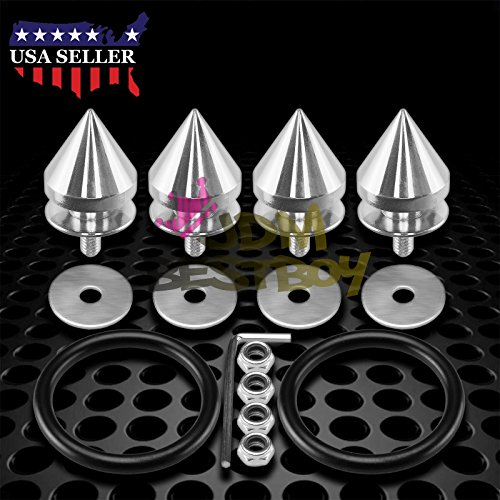 JDMBESTBOY JDM Silver Spiked Quick Release Fasteners for Car Bumpers Trunk Fender Hatch Lids Kit from
