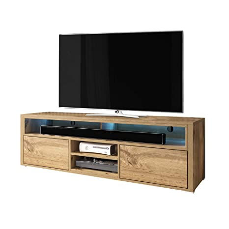 Selsey MARIO - TV Stand/Modern Entertainment Unit/Living Room TV Cabinet  with Storage (137 cm, Wotan Oak with LED Lighting)