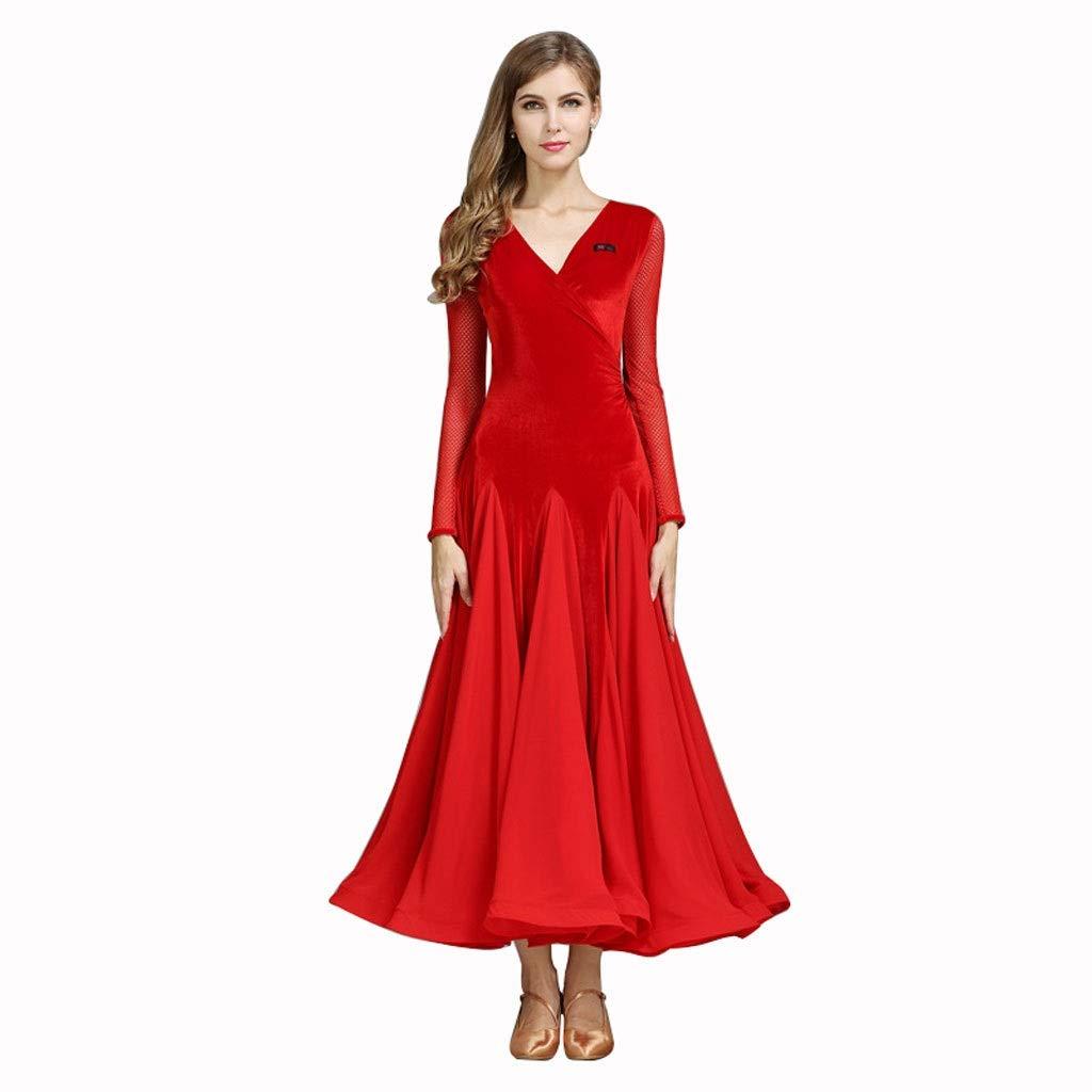 rouge petit V-Cou Robe De Danse De Salon Manches Longues Concurrence Costumes De Danse, Jupe De La Perforhommece De Danse Féminine Moderne Grande Balançoire (Couleur   Dark vert, Taille   L)