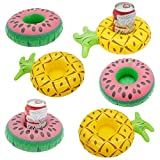 Cazul Goods Inflatable Pool Drink Holder Floats - 3 pieces Watermelon and 3 pieces Pineapple Design (Set of 6)