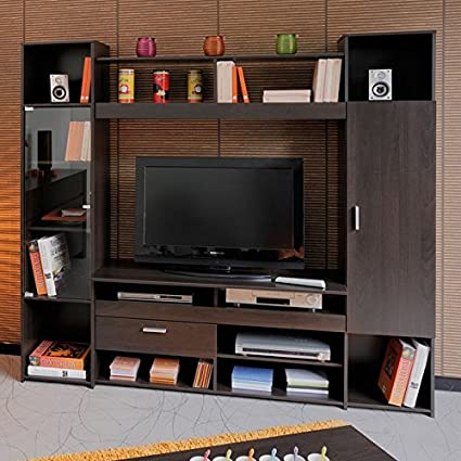 Composición TV 2 puertas 1 cajón madera café – Barry – L 191 x l 43 x