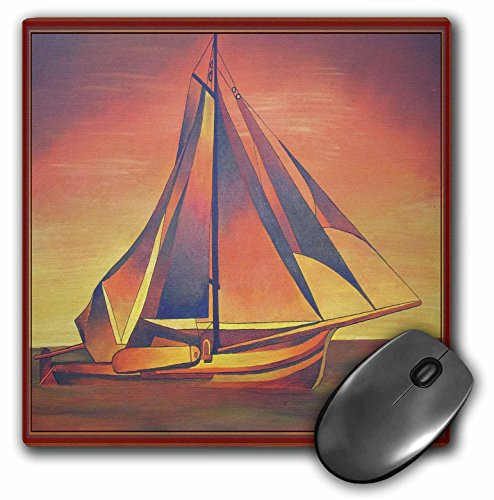 3dRose Taiche - Acrylic Painting- Sail Boat - Sienna Sails at Sunset- boats, contemporary, hiddeboomsma, ochre, sailboat, sails, seascape - MousePad (mp_48470_1) ()