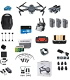 DJI Mavic PRO FLY MORE COMBO Portable Collapsible Mini Racing Drone with 3 Total Batteries, DJI Travel Bag + 64GB SD Card + Card Reader, Car Charger, Landing gear, Prop Guards, Range Extender and More