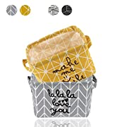 2 Pack Small Foldable Storage Basket Canvas Fabric Waterproof Organizer Collapsible and Convenient For Nursery Babies Room 100% COTTON with Handle (Yellow+Grey)