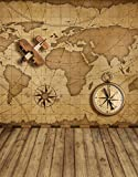 Vintage Brown Map Backdrop for Photography Studio Plane Compass Retro Digital Photo Booth Background Kids Children Shooting Prop with Wood Floor 5×7 ft 2138